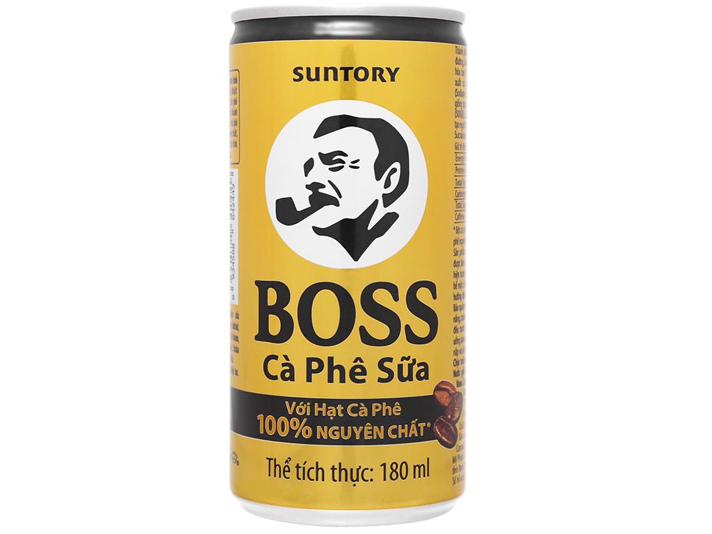 Thùng 24 lon cà phê sữa Boss 180ml 6