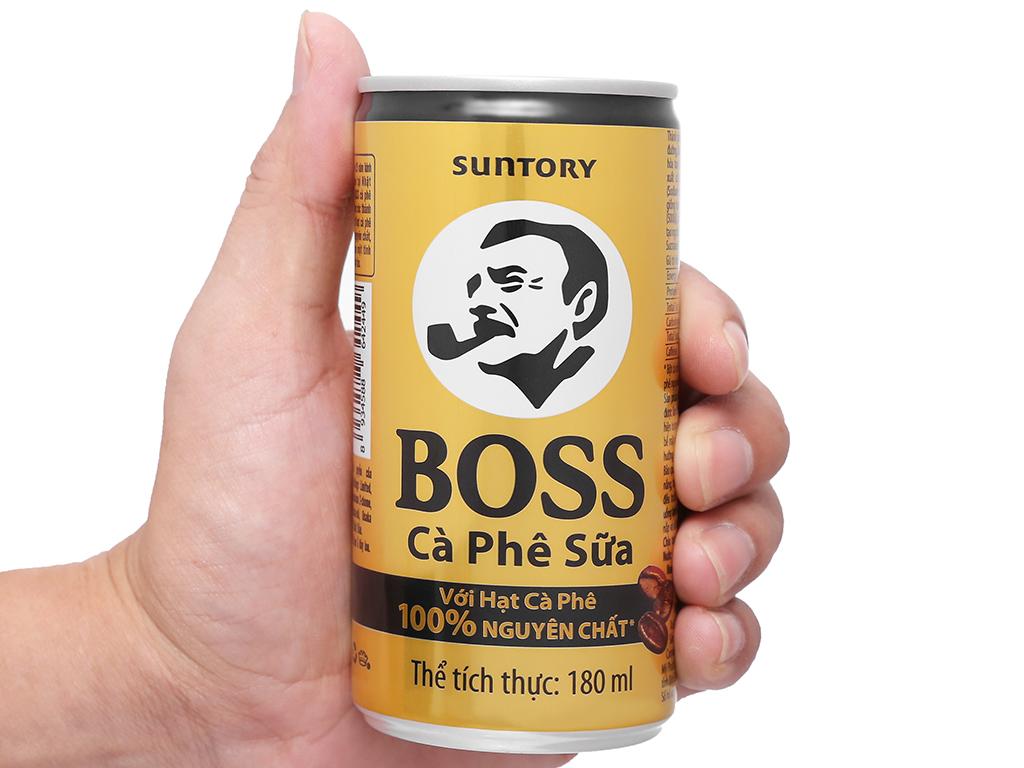Thùng 24 lon cà phê sữa Boss 180ml 9