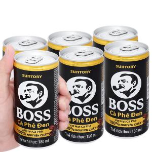 6 lon cà phê đen Boss 180ml