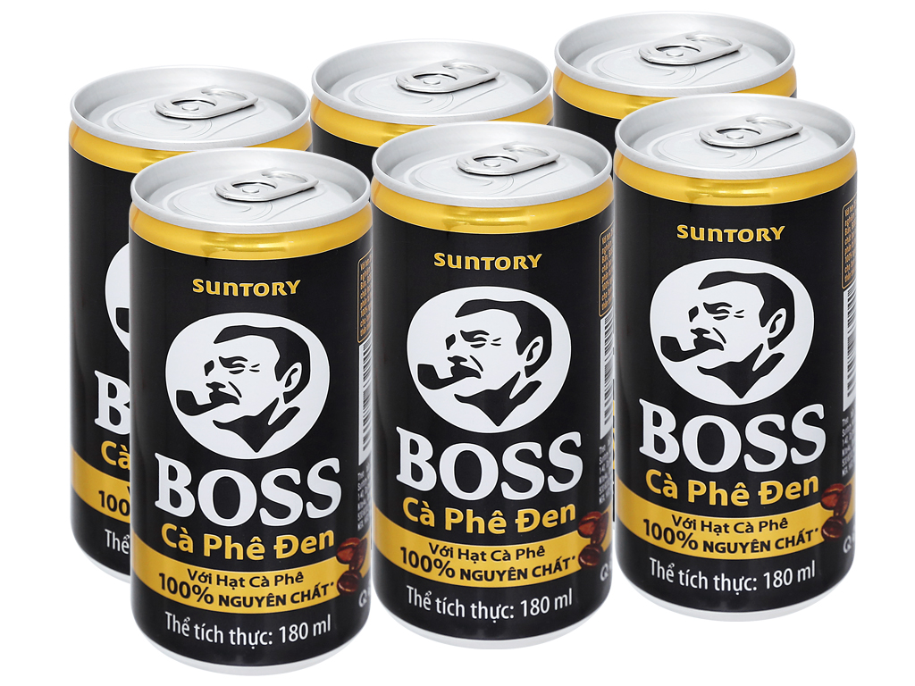 6 lon cà phê đen Boss 180ml 5