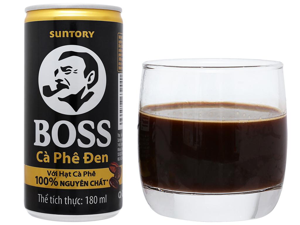 6 lon cà phê đen Boss 180ml 10