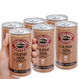 6 lon cà phê sữa Highlands 185ml