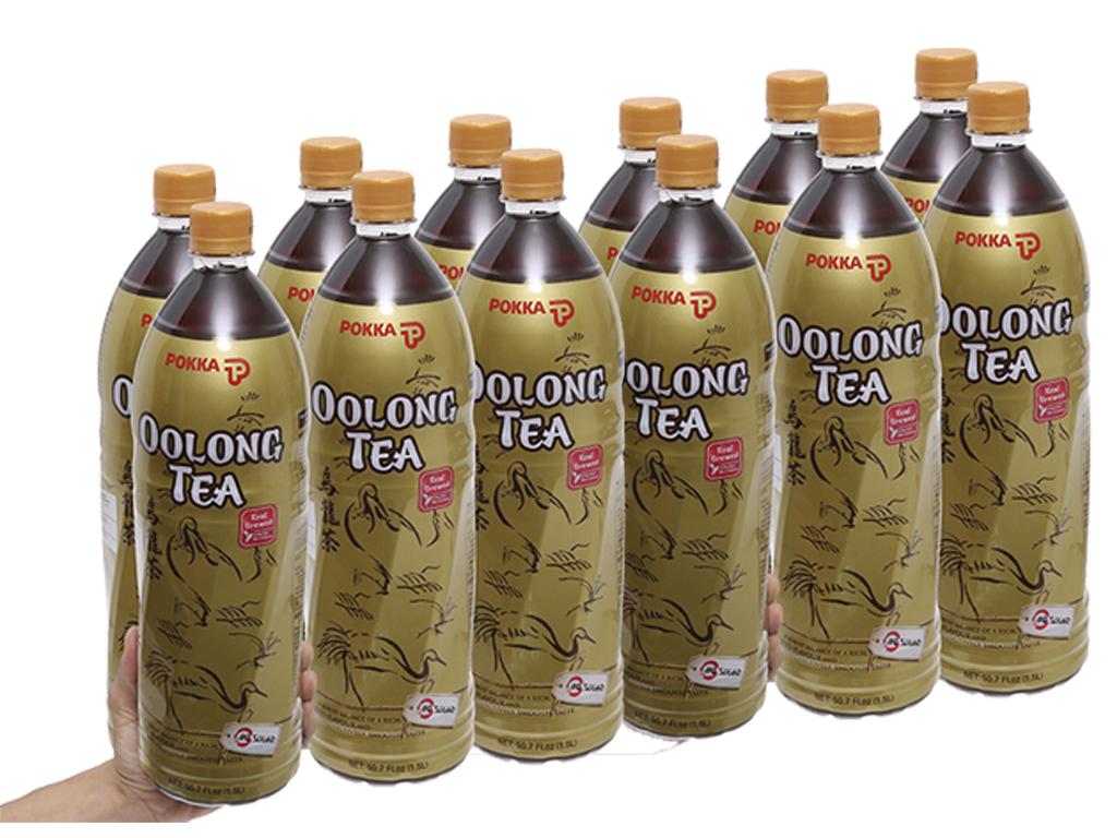 12 chai trà ô long Pokka 1.5 lít 1