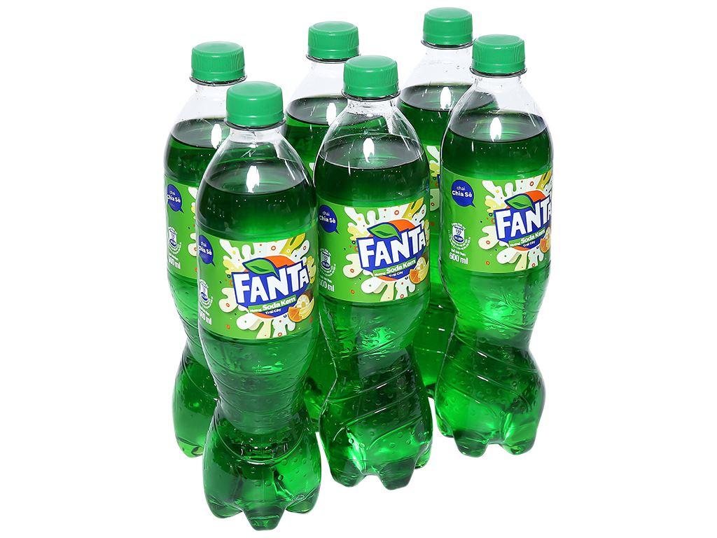 6 chai nước ngọt có ga Fanta hương soda kem trái cây 600ml 1