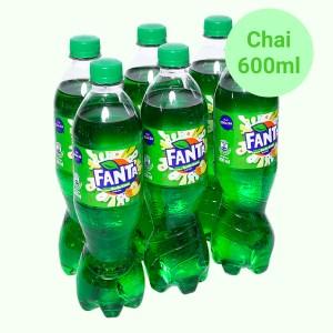 6 chai nước ngọt có ga Fanta hương soda kem trái cây 600ml