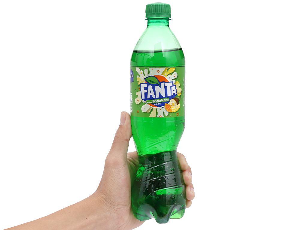 Thùng 24 chai nước ngọt có ga Fanta hương soda kem trái cây 600ml 5