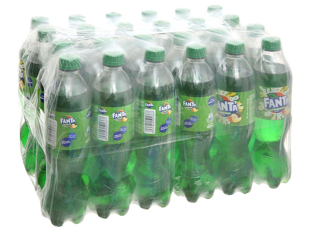 Thùng 24 chai nước ngọt có ga Fanta hương soda kem trái cây 600ml 1