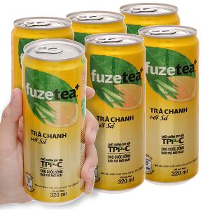 Lốc 6 lon trà chanh với sả Fuze Tea lon 320ml