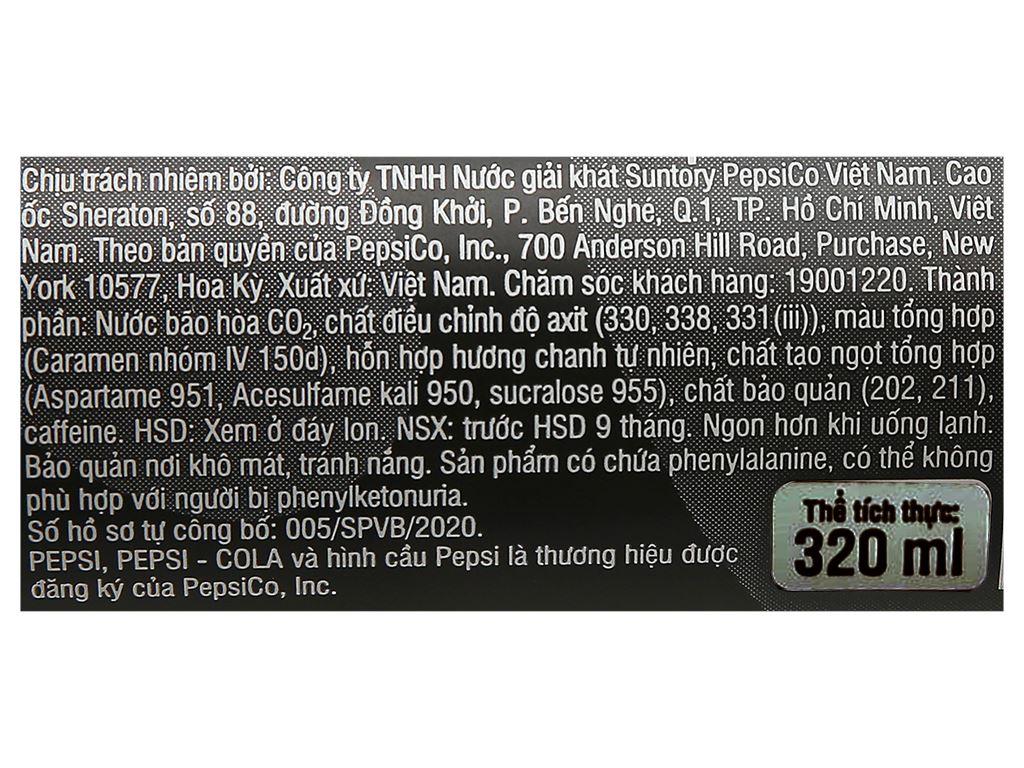 Nước ngọt Pepsi không calo vị chanh 330ml 4