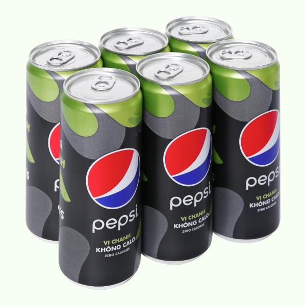 6 lon nước ngọt Pepsi không calo vị chanh 320ml