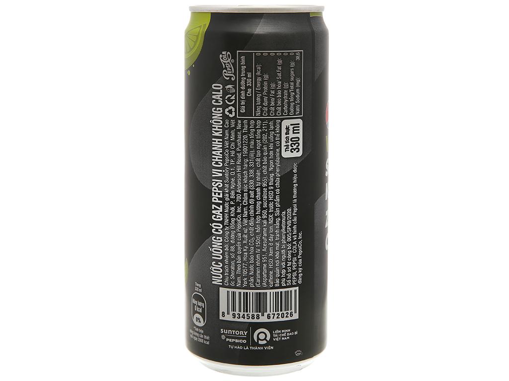 Lốc 6 lon nước ngọt Pepsi không calo vị chanh 330ml 5