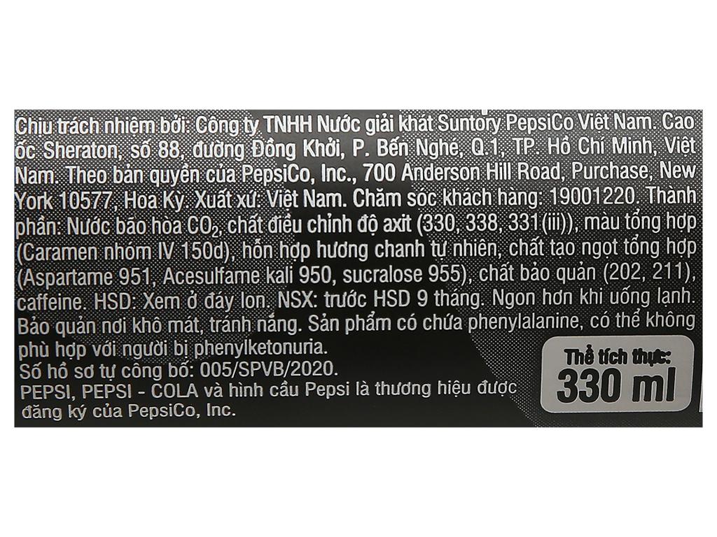 Lốc 6 lon nước ngọt Pepsi không calo vị chanh 330ml 6