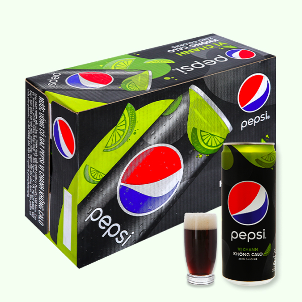 Thùng 24 lon nước ngọt Pepsi không calo vị chanh 320ml