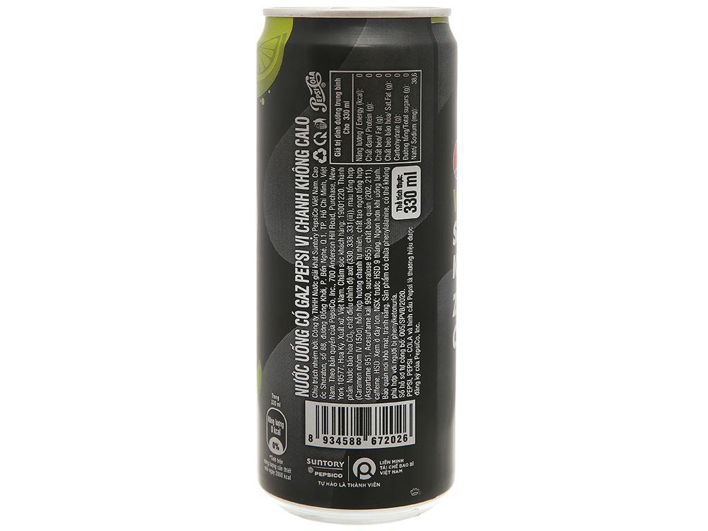 Thùng 24 lon nước ngọt Pepsi không calo vị chanh 330ml 6