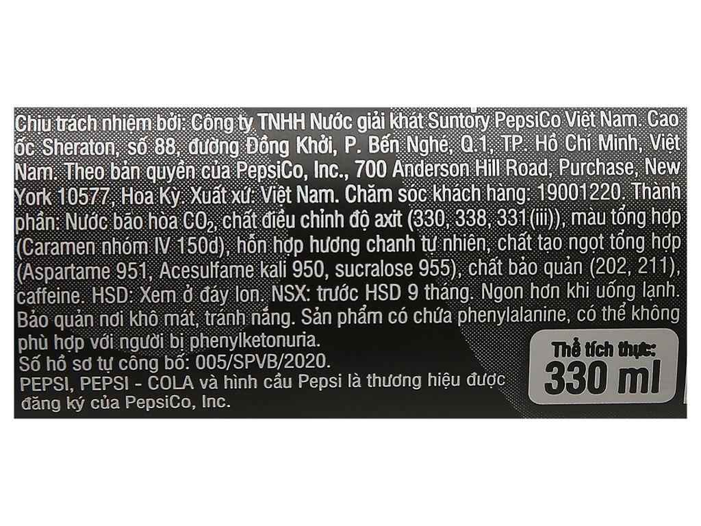 Thùng 24 lon nước ngọt Pepsi không calo vị chanh 330ml 7