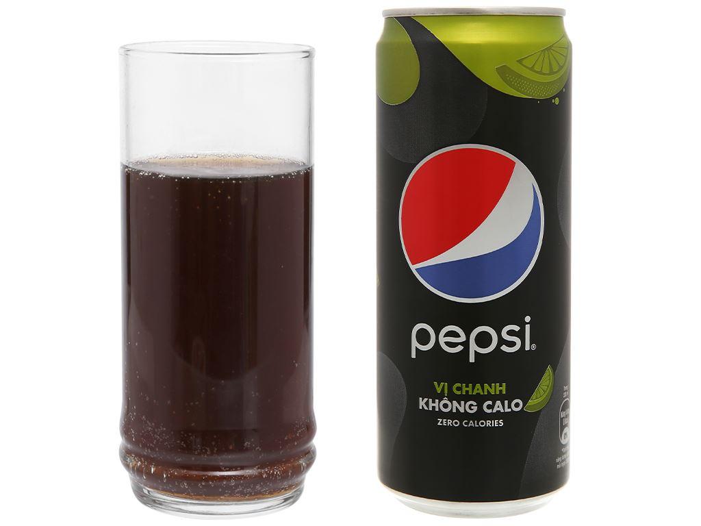 Thùng 24 lon nước ngọt Pepsi không calo vị chanh 330ml 8