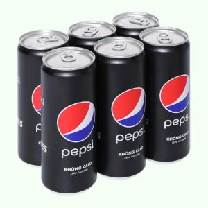 6 lon nước ngọt Pepsi không calo 330ml