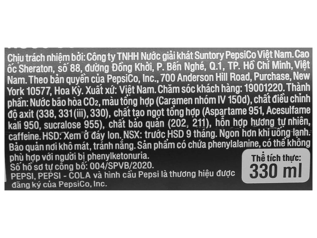 Thùng 24 lon nước ngọt Pepsi không calo 330ml 7