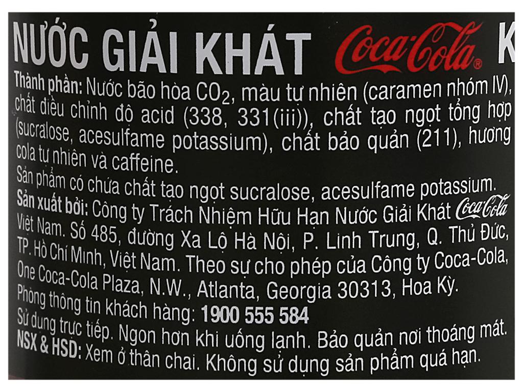 Nước ngọt có ga Coca Cola Zero chai 390ml 5