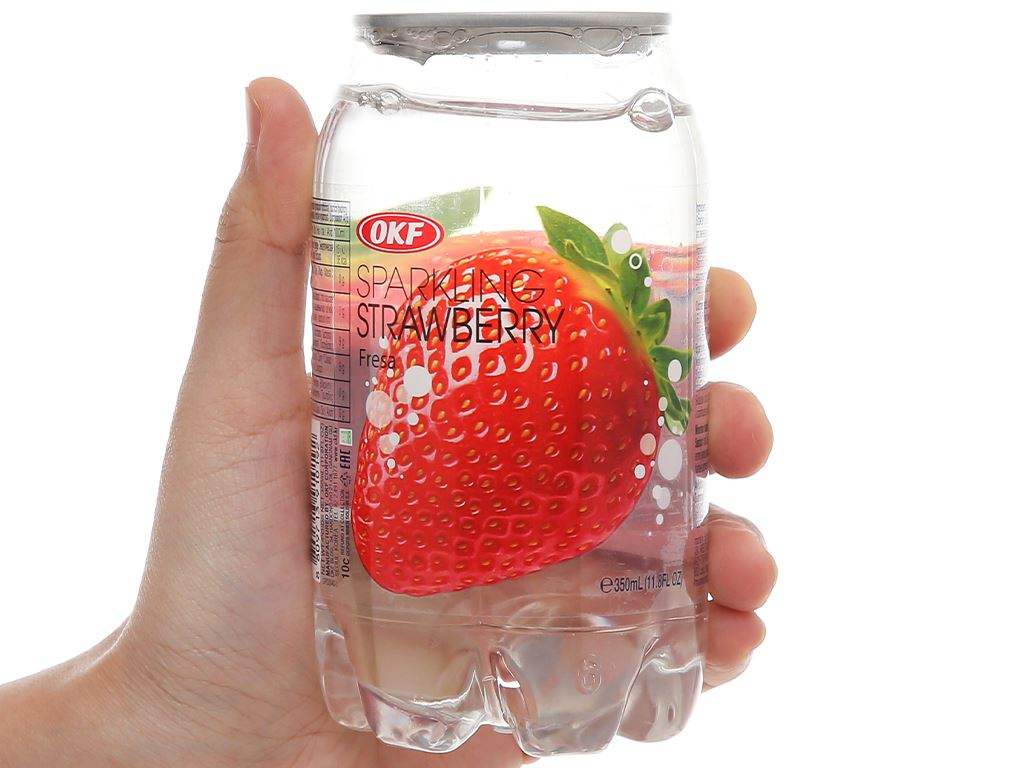 Nước ngọt có ga sparkling OKF vị dâu lon 350ml 1