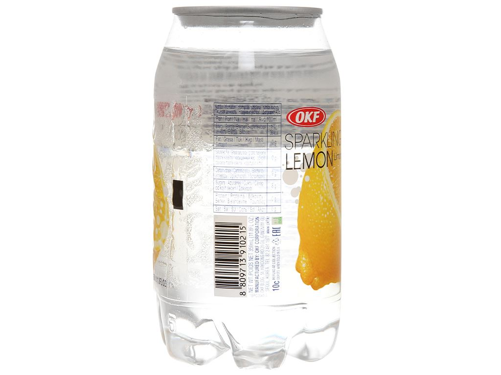 Nước ngọt có ga sparkling OKF vị chanh vàng lon 350ml 5
