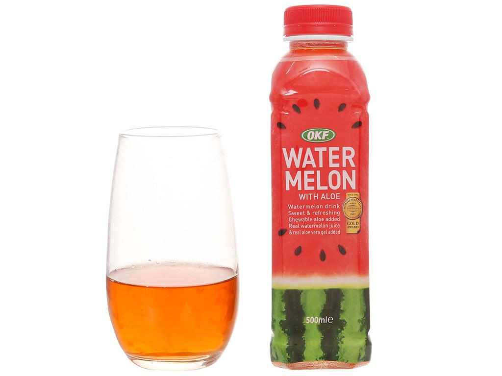 Nước ngọt có ga sparkling OKF vị dưa hấu nha đam chai 500ml 6