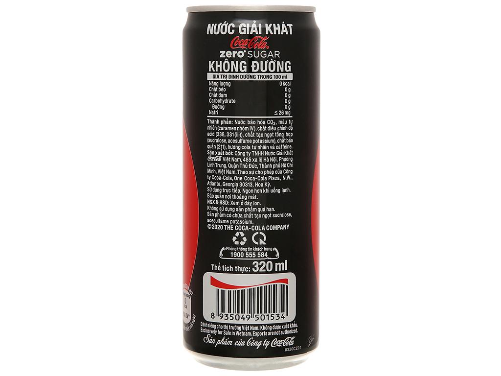 Nước ngọt Coca Cola Zero 320ml 2