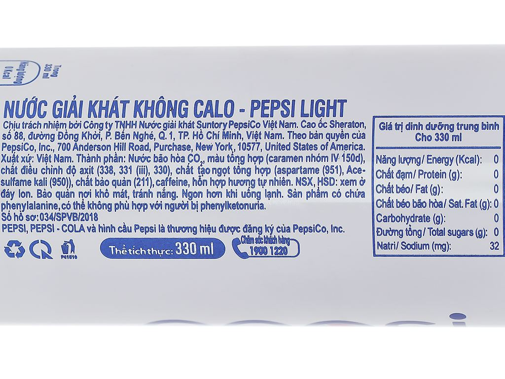 Nước ngọt Pepsi Light 330ml 3
