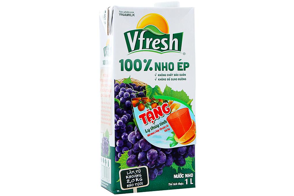 Nước Nho ép 100% Vfresh hộp 1 lít