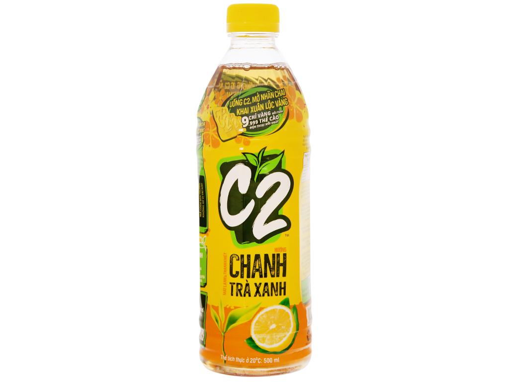 Thùng 24 chai trà xanh C2 hương chanh 500ml 8