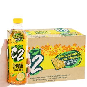 Thùng 24 chai trà xanh C2 hương chanh 500ml