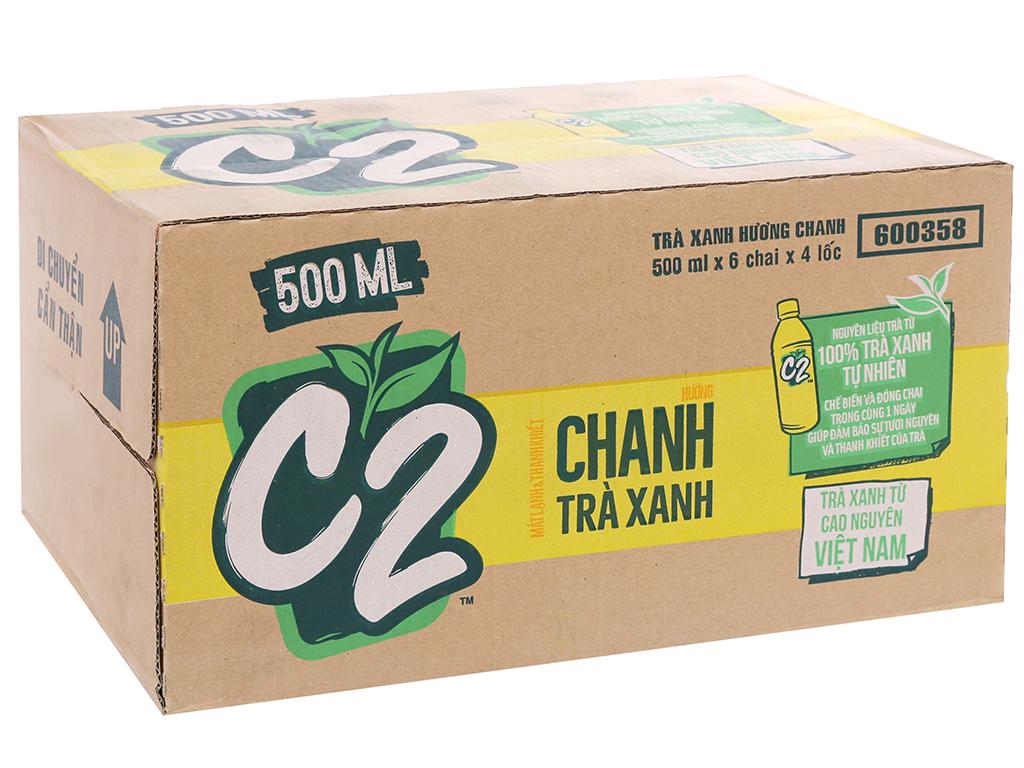 Thùng 24 chai trà xanh C2 hương chanh 500ml 1