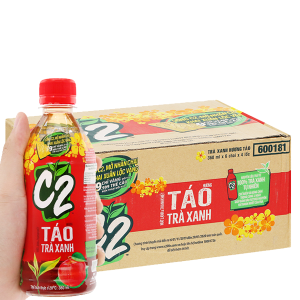 Thùng 24 chai trà xanh C2 hương táo 360ml