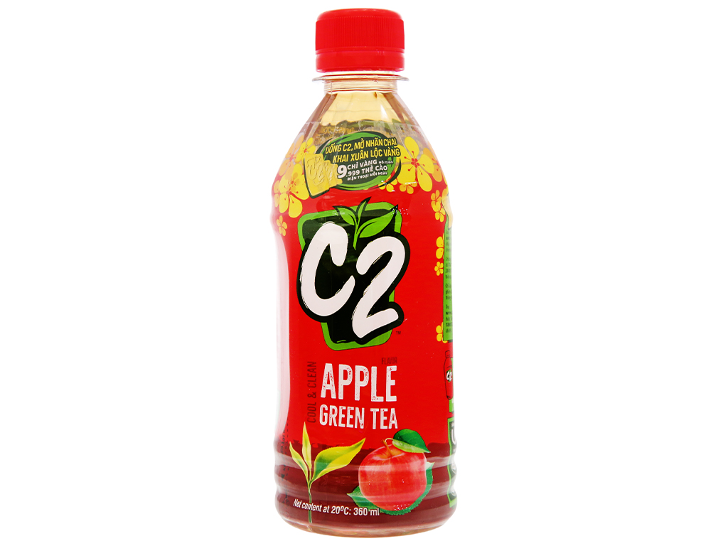 Trà xanh C2 hương táo 360ml 9