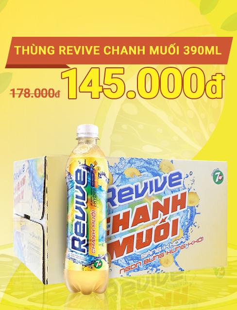Thùng 24 chai nước ngọt Revive chanh muối 390ml