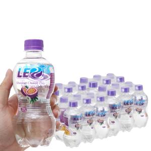 Thùng 24 chai nước khoáng có ga Leo vị chanh dây 350ml