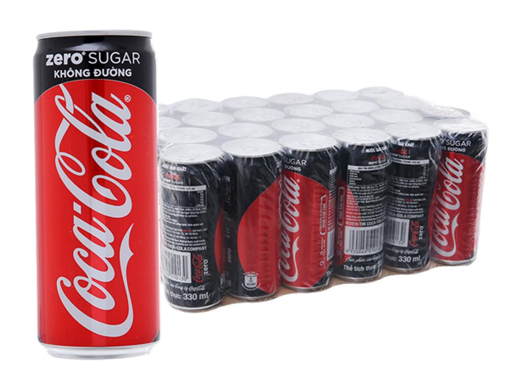 Thùng 24 lon nước ngọt Coca Cola Zero 330ml 2