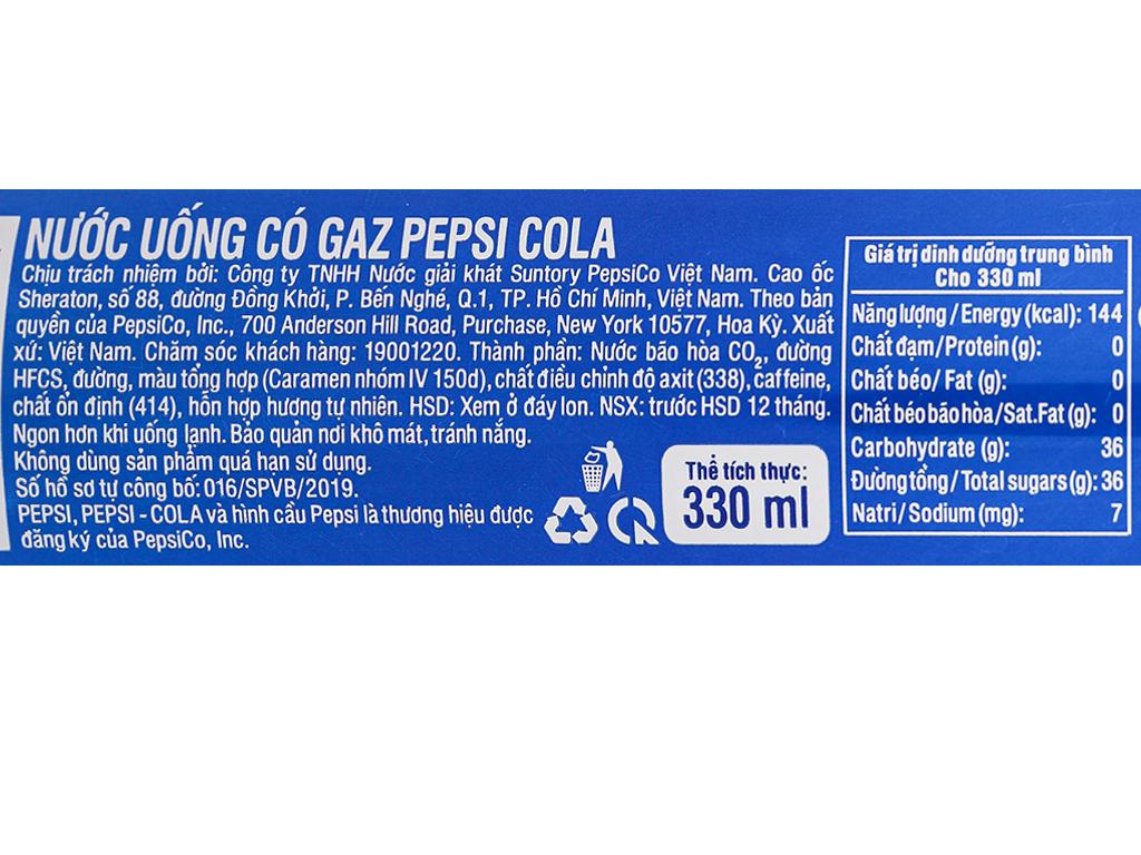 24 lon nước ngọt Pepsi Cola 330ml 12
