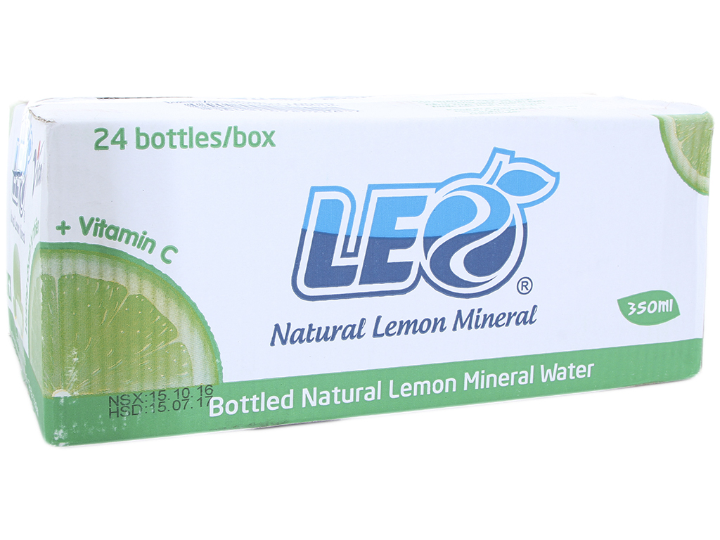 Thùng 24 chai nước khoáng có ga Leo vị chanh 350ml 1