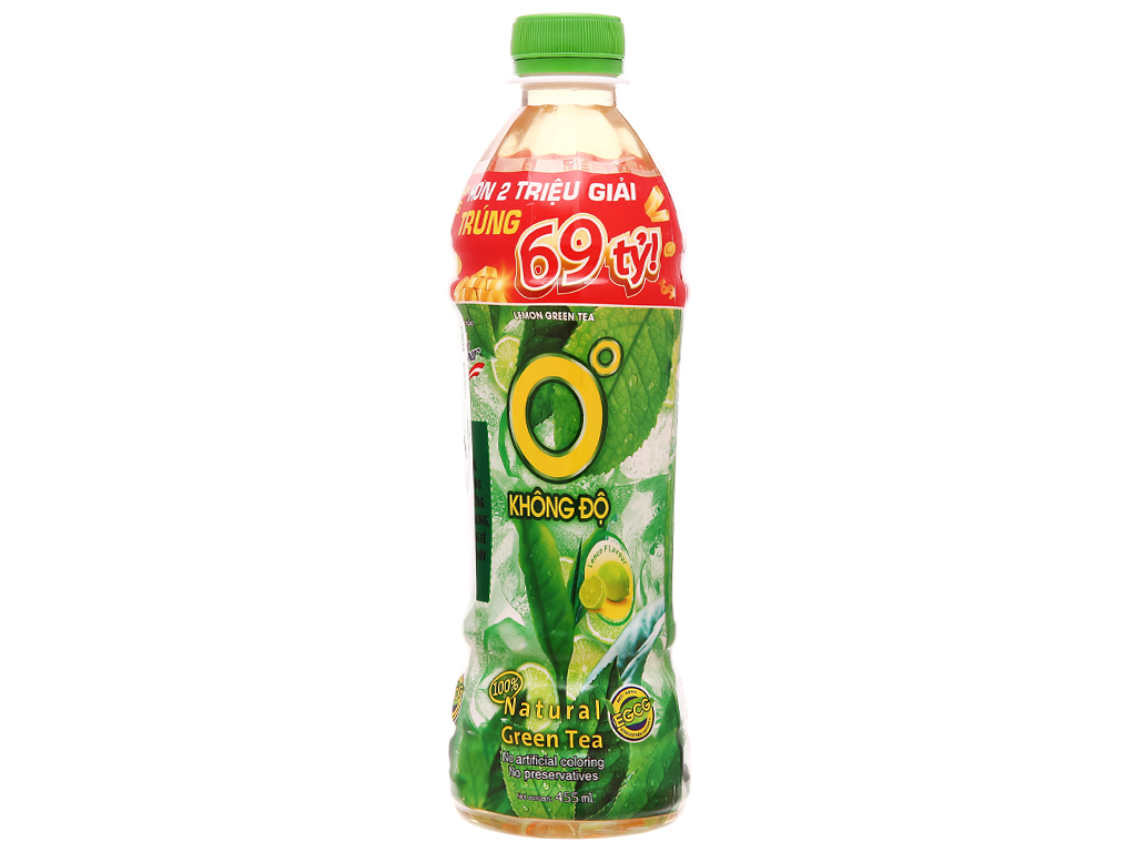 Thùng 24 chai trà xanh Không Độ vị chanh 455ml 2