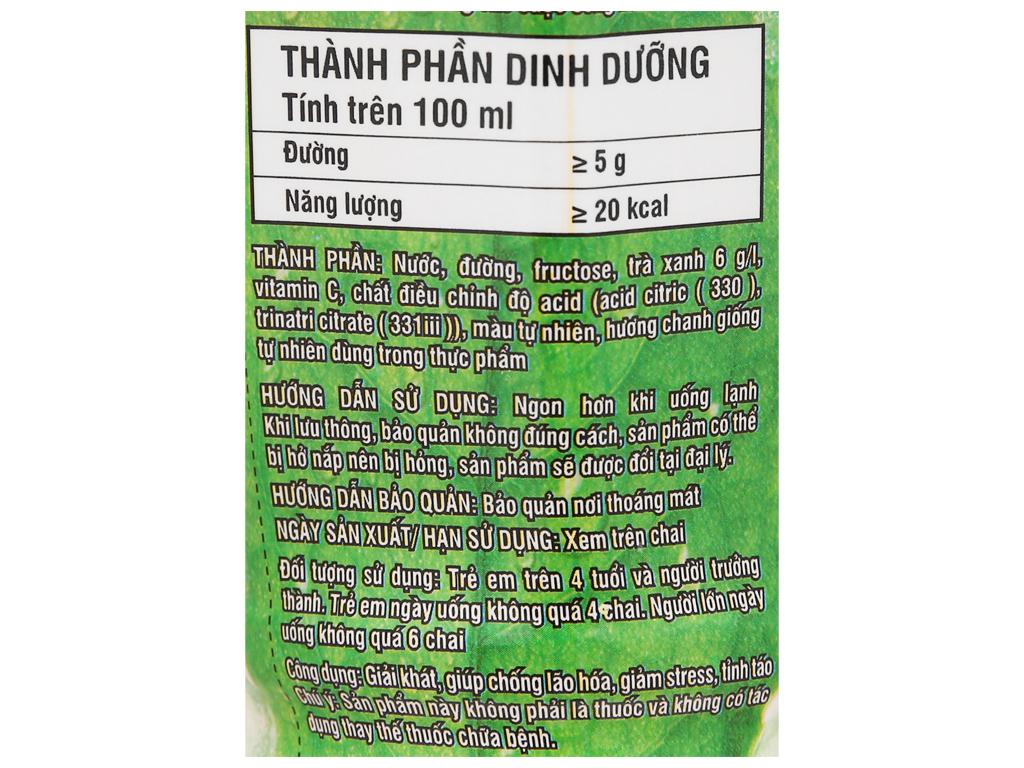 Thùng 24 chai trà xanh Không Độ vị chanh 455ml 4