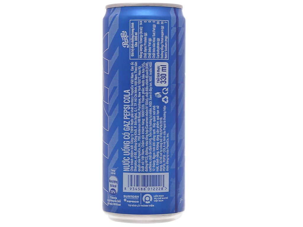 Lốc 6 lon nước ngọt Pepsi Cola 330ml 6