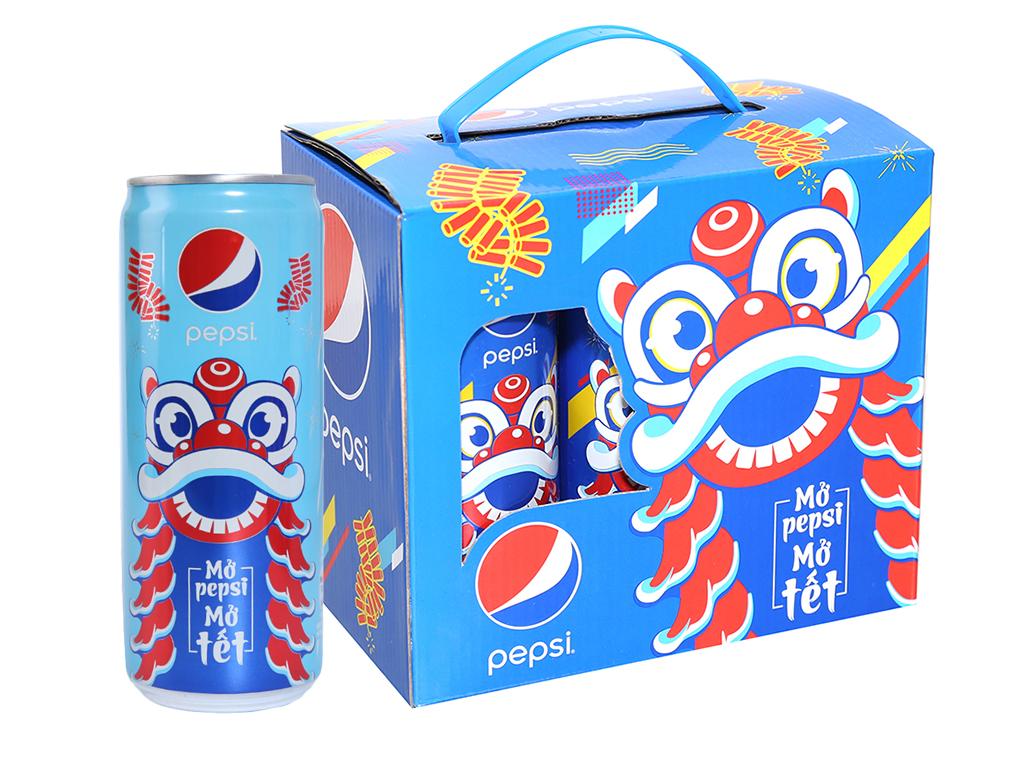 Lốc 6 lon nước ngọt Pepsi Cola 330ml 1