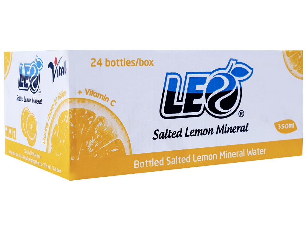 Thùng 24 chai nước khoáng có ga Leo vị chanh muối 350ml 1