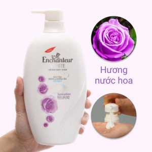 Sữa tắm trắng và dưỡng ẩm có hạt Enchanteur White Sensation 650g