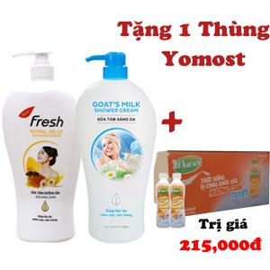 Combo 2 chai Sữa tắm dưỡng ẩm và sáng da Fresh 1200g