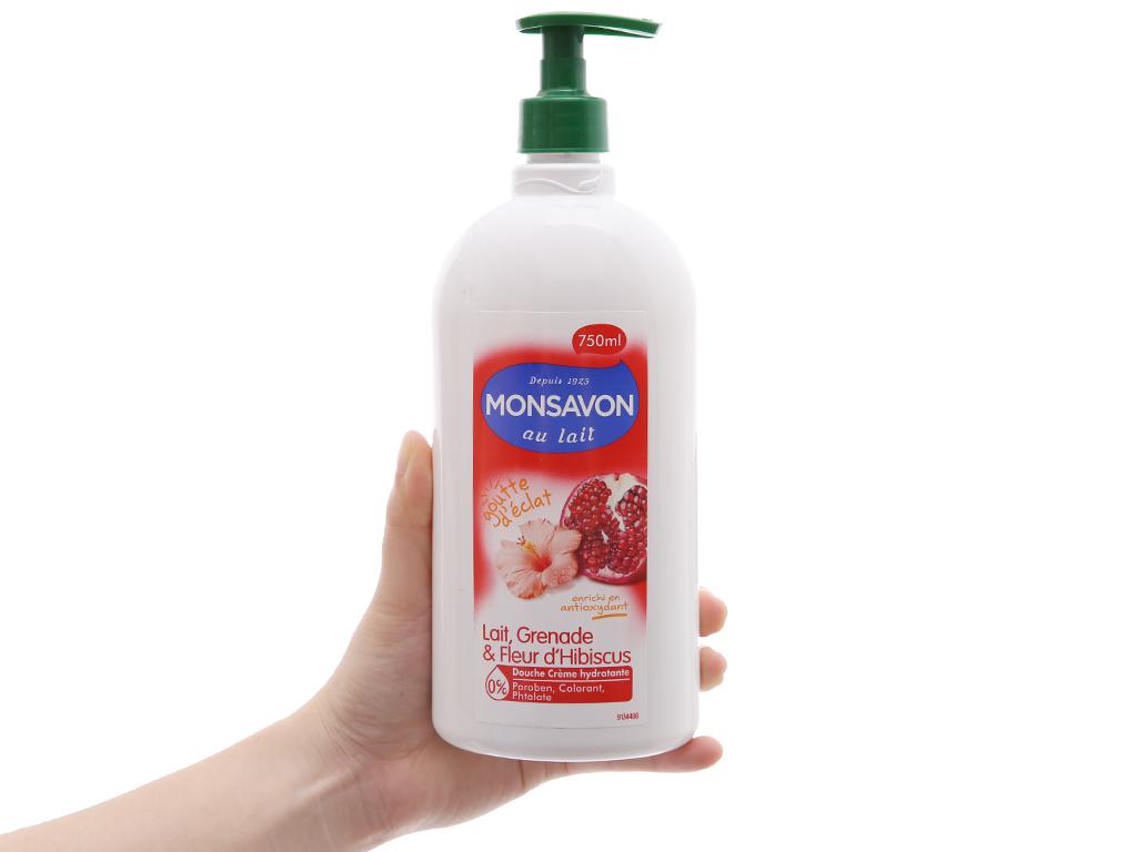 Sữa tắm Monsavon sữa, lựu và hoa dâm bụt 750ml 4