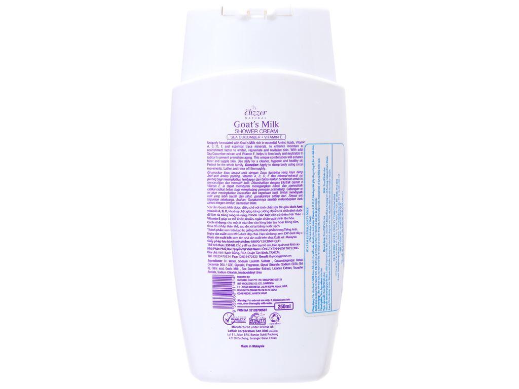 Sữa tắm Elizzer Natural tinh chất sữa dê 250ml 3