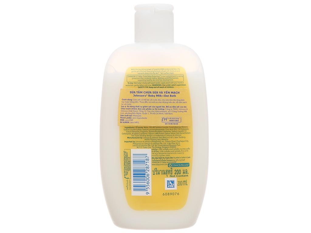 Sữa tắm cho bé Johnson's Baby Milk & Oats 200ml 3