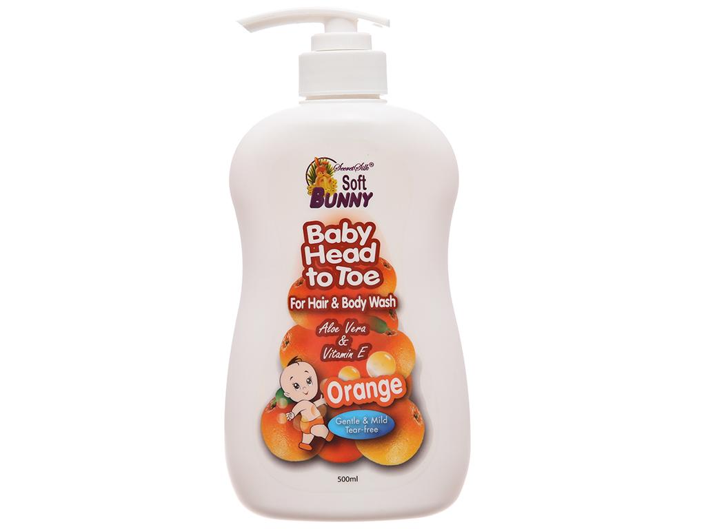 Tắm gội cho bé Soft Bunny cam & sữa dê 500ml 2